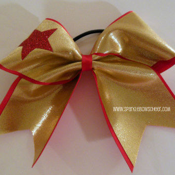 Woman Wonder Gold Star Large Cheer Bow Hair by SparkleBowsCheer