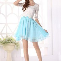 white lace turquoise chiffon elegant dress new style l204 from YRB