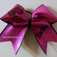 Bar Bar Pink/Black Rhinestone Large Cheer Bow by SparkleBowsCheer