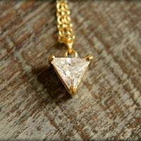 Diamond Triangle Necklace in Gold