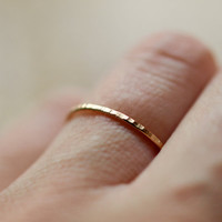 14k Yellow Gold Stacking Ring Hammered Band Slim Elegant Recycled Gold Ethical Handmade Jewelry
