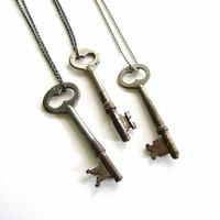 rustic mens antique skeleton key necklace - unisex jewelry - your choice