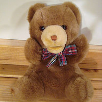 Vintage Gund 1985 Stuffed Plush Hand Puppet Brown Bear