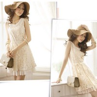 Summer new products tailored vest skirt cultivate one's morality dress lace