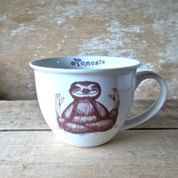 Namaste Baby Sloths, Tea cup style Sloth Meditation Teacup, 14 oz Coffee Mug, Recycled, Porcelain, Ready to Ship
