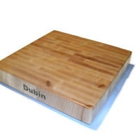 "Cutting Board Personalized Name On The Side - End Grain Maple 14""x14""x2"" with Feet"
