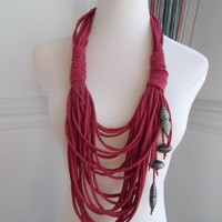 My Sassy Scarf/Necklace: Stressed Red Danglers | MySassyScarfs - Accessories on ArtFire
