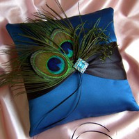 Peacock Feather Wedding Ring Bearer Pillow Peacock Blue and Black | All4Brides - Wedding on ArtFire