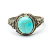 Brandy ♥ Melville |  Silver Ring with Turquoise Stone - Accessories