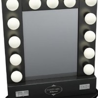 "Broadway Table Top Lighted Vanity Mirror 27"" x 13"" - Black Frame, Black Surface"