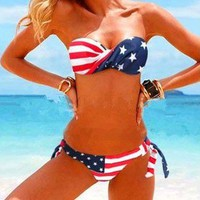 Stars Stripe Strapless Padded Swimsuit