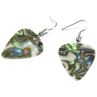 Mother of Pearl Earrings, Faux Abalone Jewelry, Nickel Free Guitar Pick Earrings