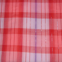 Retro Red Plaid Fabric with Purple Stripe & Silver Metallic Threads - 4 YARDS, 6 INCHES