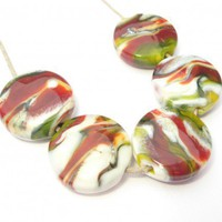 Sedona Lentils (5) - Handmade Lampwork Beads | LindenAvenueDesigns - Jewelry on ArtFire