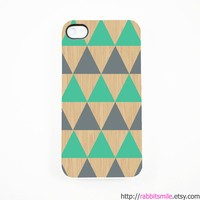 iPhone 5 Case, iPhone 4 case, iPhone 4s Cover , Hard Plastic iphone 5 Cover, cases -- Mint Grey Triangle Geometric on Wood Print