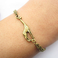 braceletantique bronze little giraffe pendant & alloy by lightenme