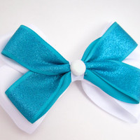 Sparkly Blue and White Hair bow