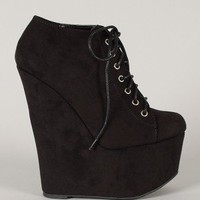 Qupid Vanish-02 Round Toe Lace Up Wedge Bootie