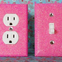 SET of CHERRY BLOSSOM PINK GLITTER Switch Plate / Outlet Covers ANY ST