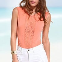 Sexy Lace Panel Bodysuit in Peach