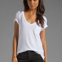 AG Adriano Goldschmied Pocket V Neck Tee in White from REVOLVEclothing.com