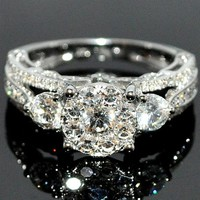 Diamond Engagement Wedding Ring 14K White Gold