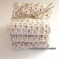 Set of 3 Eco Spa Wash Cloths #Handmade #Crochet Washcloth Face Cloth Cotton by MoomettesCrochet