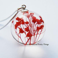 Red Real Flower Necklace Scarlet Resin Jewelry Baby's Breath Summer Jewelry Mother Love Heart