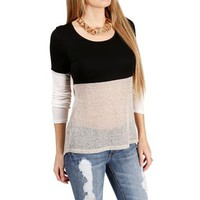 Black/White/Gray Colorblock Top