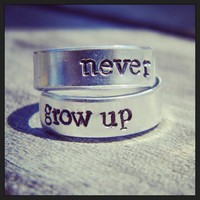 Never grow up spiral ring