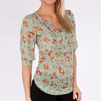 Angie Juniors Printed Top with Studded Neckline at Von Maur
