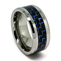 Blue Chip Unlimited -Extra Wide 10mm Designer Tungsten Carbide Black and Blue Carbon Fiber Men's Unique Wedding Rings Engagement Bands Size (11.5)