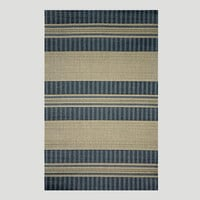 Blue Textured Stripe Indoor-Outdoor Rug | World Market