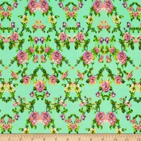 Designer Stretch ITY Jersey Knit Floral Mint/Hot Pink - Discount Designer Fabric -  Fabric.com