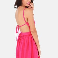 Getting Back Together Magenta Pink Backless Dress