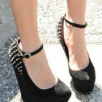 Black Studded High heeled Platform Shoes from magisteriall