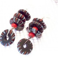 Handmade Vintage African Trade Bead Earrings by JewelryStatements on Zibbet