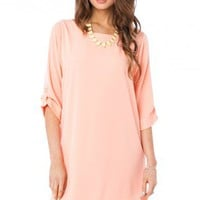Arden Shift Dress in Peach - ShopSosie.com