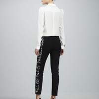 Shonda Matte Silk Blouse & Lace-Panel Slim Pants