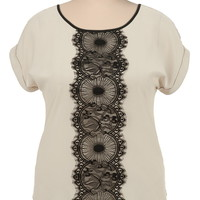 Contrast Lace Short Sleeve Top