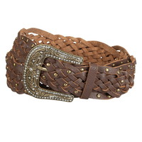 Plus Braided Stud and Rhinestone Belt
