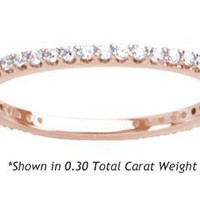 Women's Diamond Eternity Ring Shared Prong Round Cut ( 0.30 Total Carat Weight | GH-I1 Quality | 14k Rose Gold ) Finger Size - 4.75