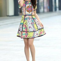 floral print elegant chiffon dress final sale l218 from YRB