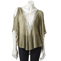 Love And Haight Openwork Lace Circle Top - Juniors