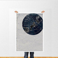 Vintage Inspired Astronomy Print Poster, Constellations,Stars Map,  Zodiac, Gemini, Cancer, Leo, Virgo