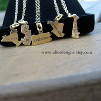 State Charm Necklace Wedding or Bridesmaid Gift New York Pendant New Jersey, Pennsylvania, Maryland, Delaware State Necklace Gold or Silver