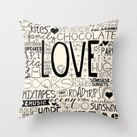 50 Reasons To Be Happy Throw Pillow by The Love Shop