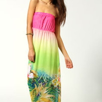 Hayley Tropical Ombre Print Bandeau Maxi Dress