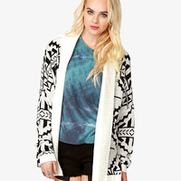 Open-Knit Tribal Print Cardigan