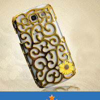 Resin Yellow Sunflower Curved Floral Plated Golden Plastic Samsung Galaxy S3 Case